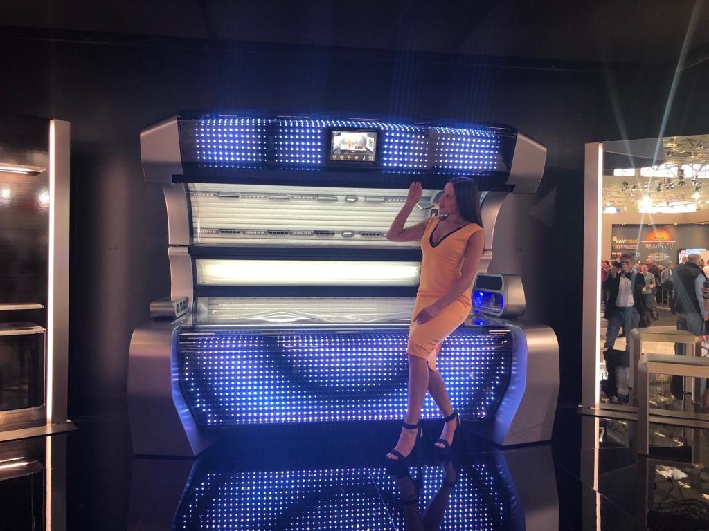 A woman showcases the megaSun p9
